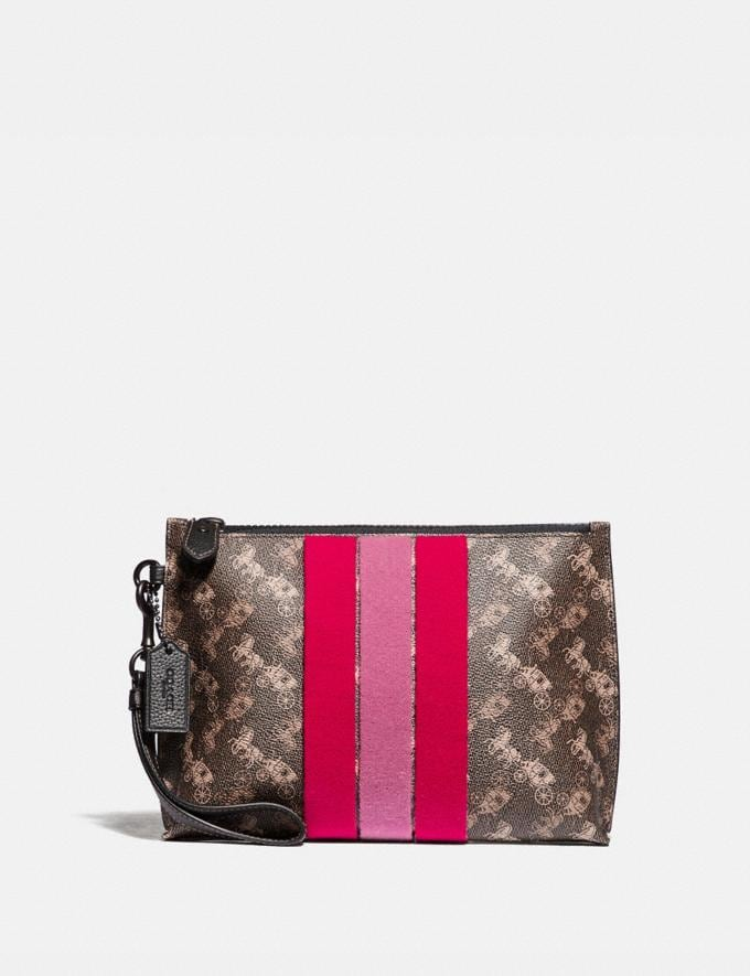 Coach Charlie Pouch With Horse and Carriage Print and Varsity Stripe Pewter/Brown Black Women Small Leather Goods Wristlets