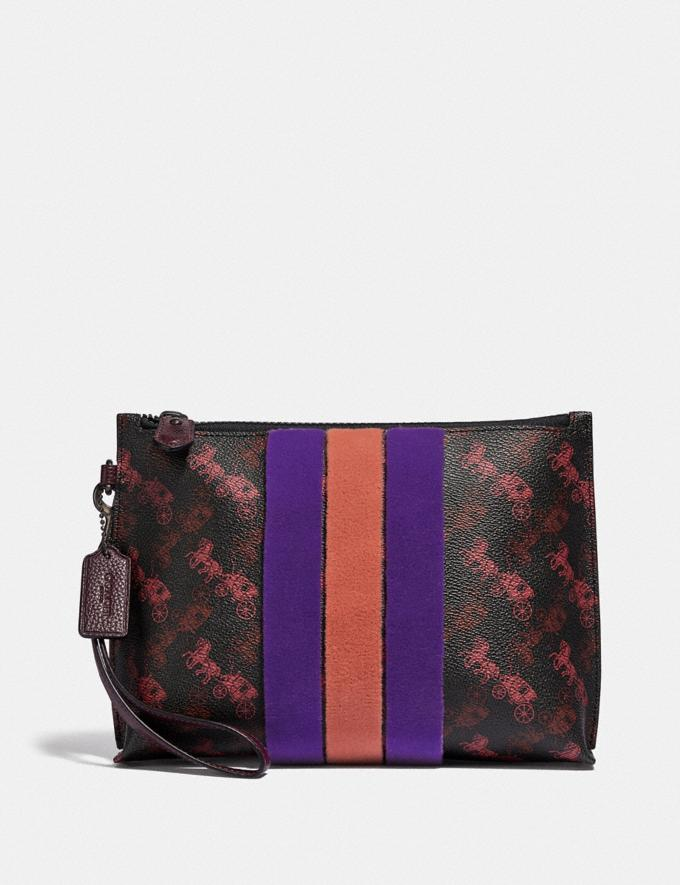 Coach Charlie Pouch With Horse and Carriage Print and Varsity Stripe Pewter/Black Oxblood Women Small Leather Goods Wristlets