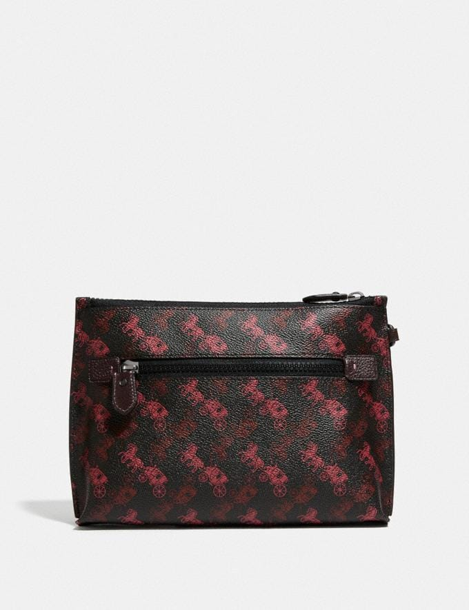Coach Charlie Pouch With Horse and Carriage Print and Varsity Stripe Pewter/Black Oxblood New Featured Online-Only Alternate View 1