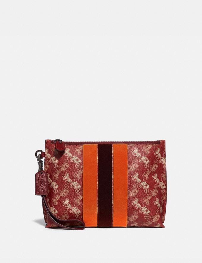 Coach Charlie Pouch With Horse and Carriage Print and Varsity Stripe V5/Red Deep Red New Women's New Arrivals
