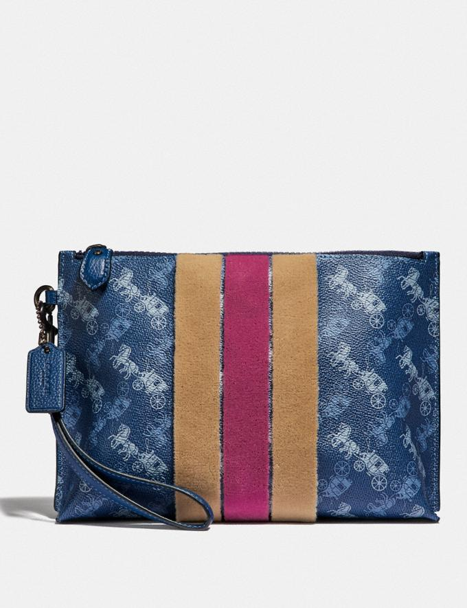Coach Charlie Pouch With Horse and Carriage Print and Varsity Stripe Pewter/True Blue