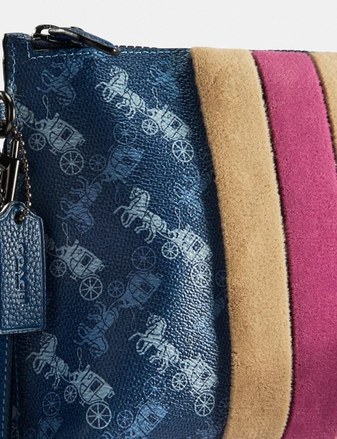 Coach Charlie Pouch With Horse and Carriage Print and Varsity Stripe Pewter/True Blue  Alternate View 3