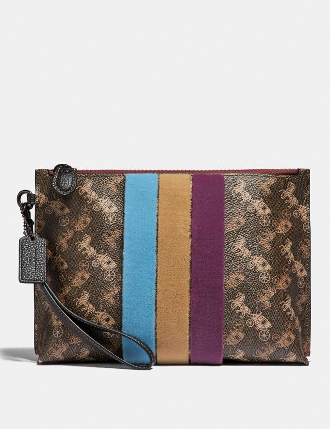 Coach Charlie Pouch With Horse and Carriage Print and Varsity Stripe V5/Brown Black Orchid PRIVATE SALE Women's Sale Wallets & Wristlets