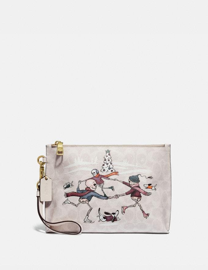 Coach Charlie Pouch in Signature Canvas With Bonesy Brass/Ivory Multi Cyber Monday Women's Cyber Monday Sale Wallets & Wristlets