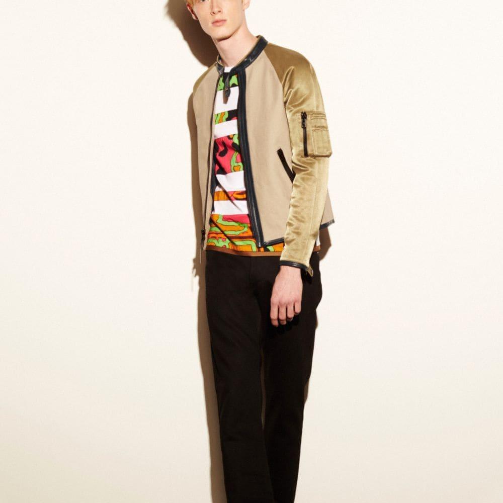 Mixed Fabric Racer Jacket
