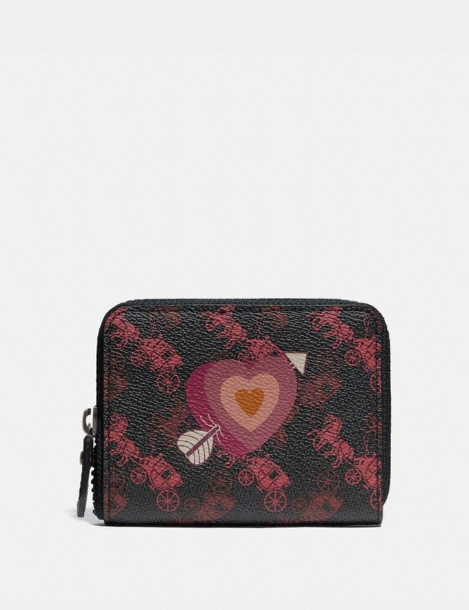Coach Small Zip Around Wallet With Horse and Carriage Print and Heart Pewter/Black Oxblood