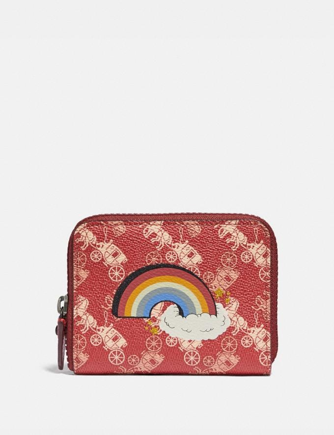 Coach Small Zip Around Wallet With Horse and Carriage Print and Rainbow Pewter/Red Deep Red