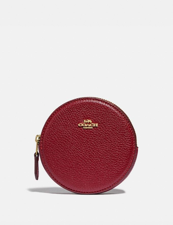 Coach Round Coin Case Gold/Deep Red
