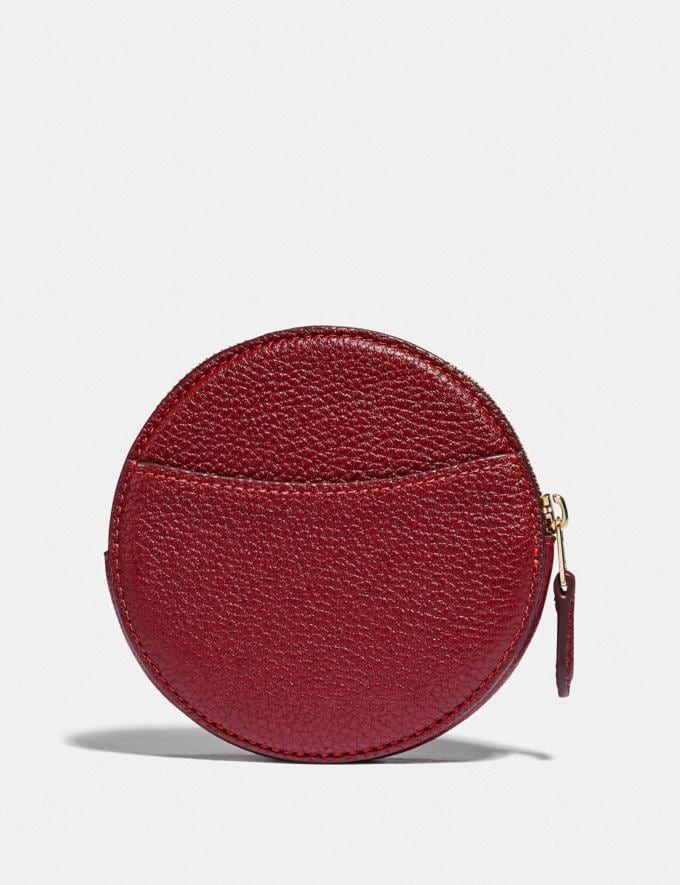 Coach Round Coin Case Gold/Deep Red  Alternate View 1