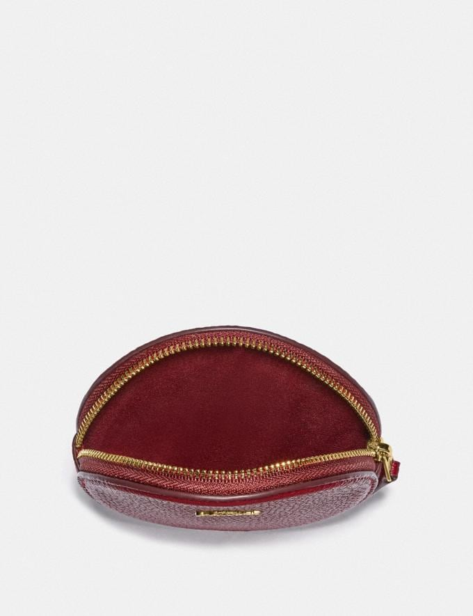 Coach Round Coin Case Gold/Deep Red  Alternate View 2
