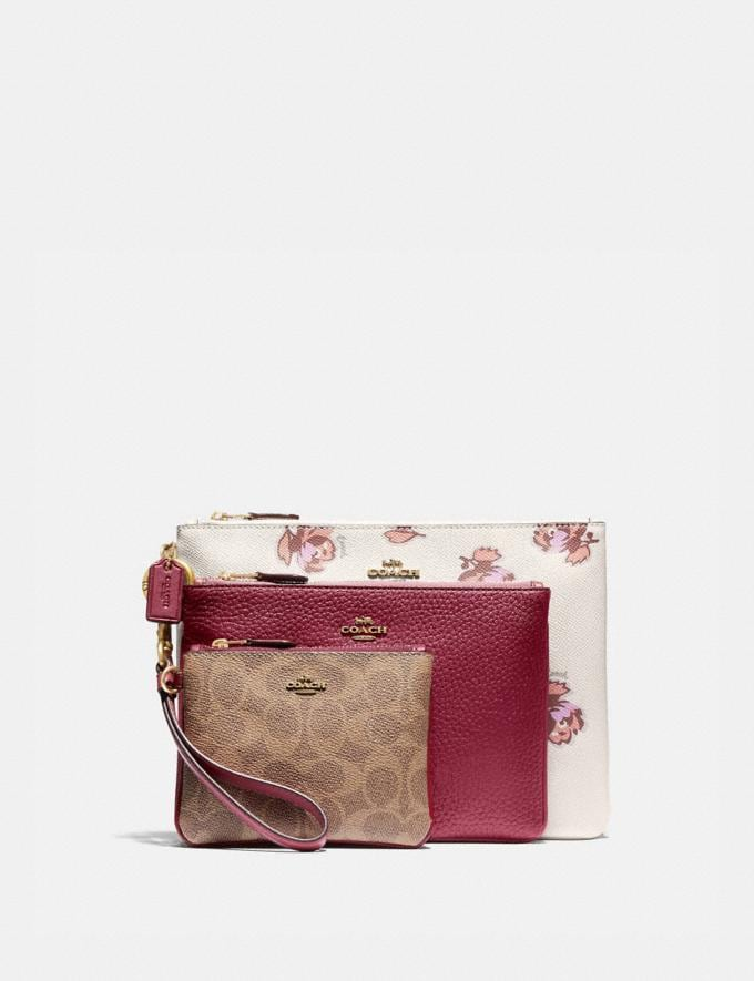 Coach Triple Pouch in Signature Canvas and Floral Print Brass/Tan Deep Red Multi New Women's New Arrivals Wallets & Wristlets