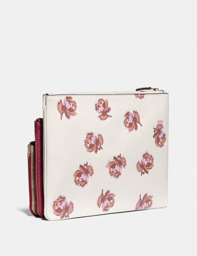 Coach Triple Pouch in Signature Canvas and Floral Print Brass/Tan Deep Red Multi New Women's New Arrivals Wallets & Wristlets Alternate View 1