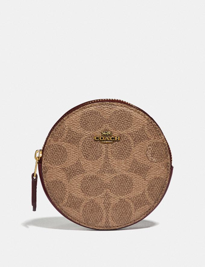 Coach Round Coin Case in Signature Canvas B4/Tan Deep Red Women Small Leather Goods Small Wallets