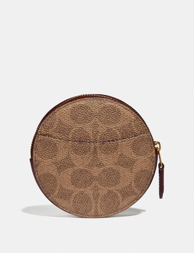 Coach Round Coin Case in Signature Canvas B4/Tan Deep Red Women Small Leather Goods Small Wallets Alternate View 1