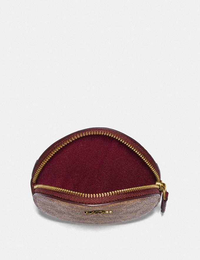Coach Round Coin Case in Signature Canvas B4/Tan Deep Red Women Small Leather Goods Small Wallets Alternate View 2