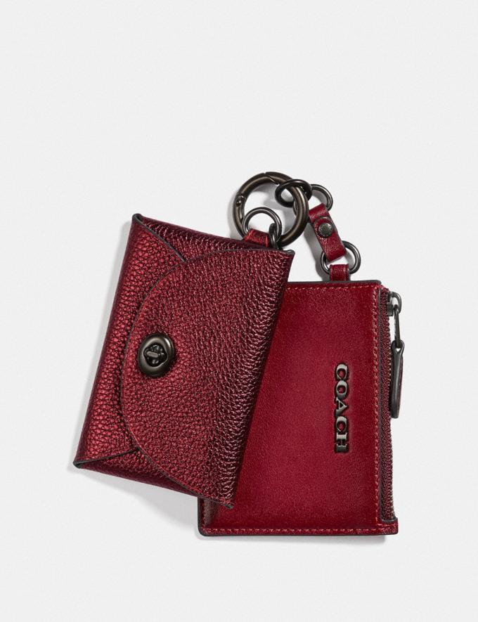 Coach Dual Card Case Pewter/Metallic Clay Women Wallets & Wristlets Card Cases