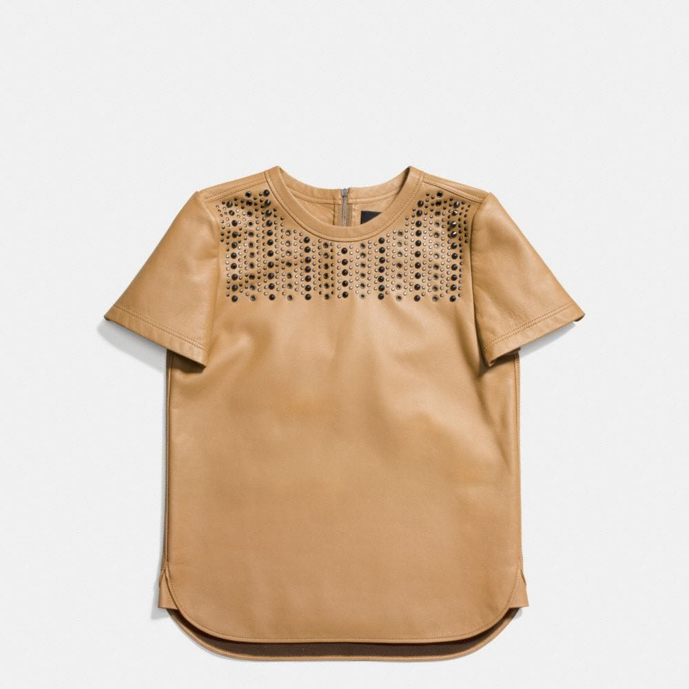 EMBELLISHED LEATHER TEE