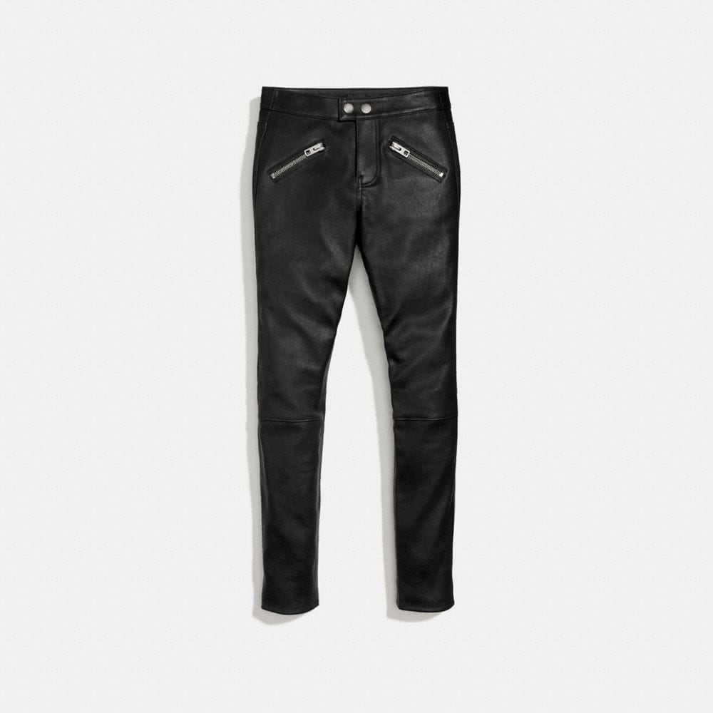 Coach Zip Pocket Leather Pants