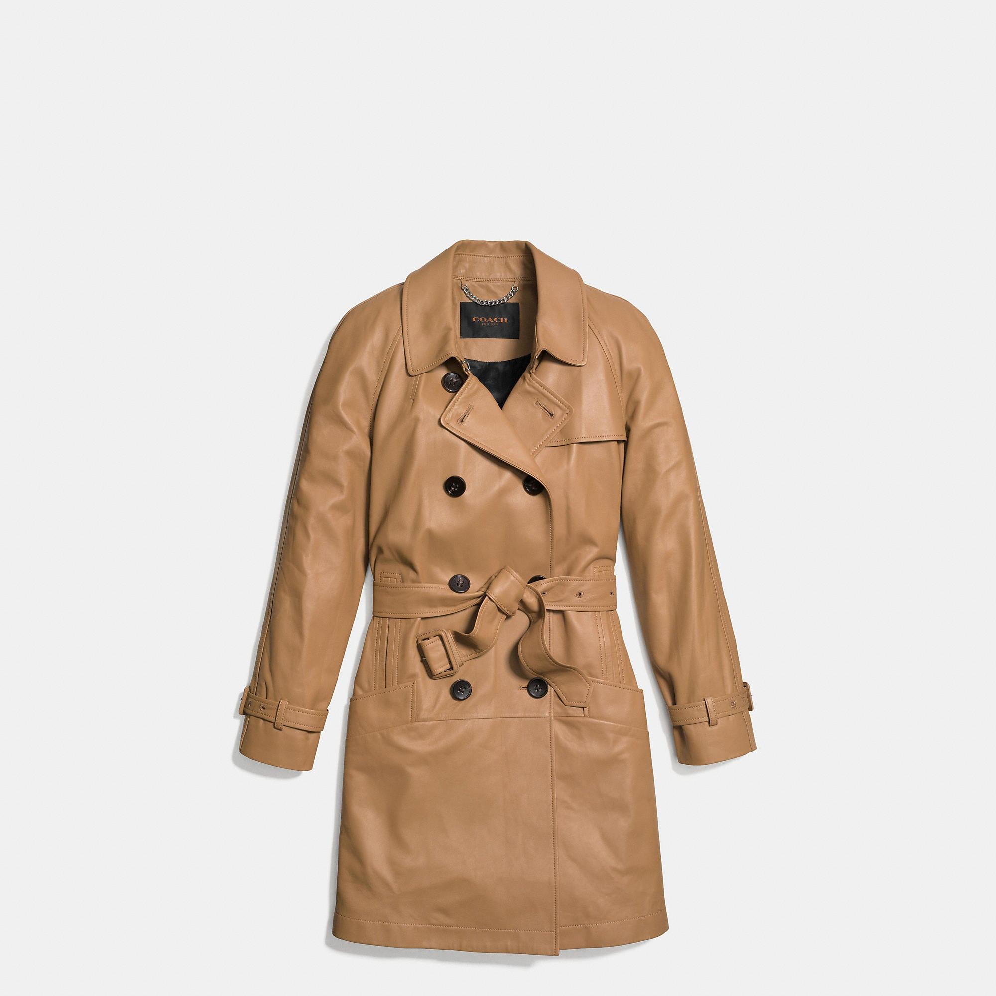 Coach Leather Drapey Trench