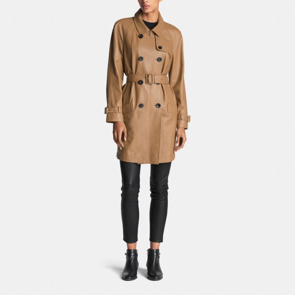Leather Drapey Trench - Alternate View M1