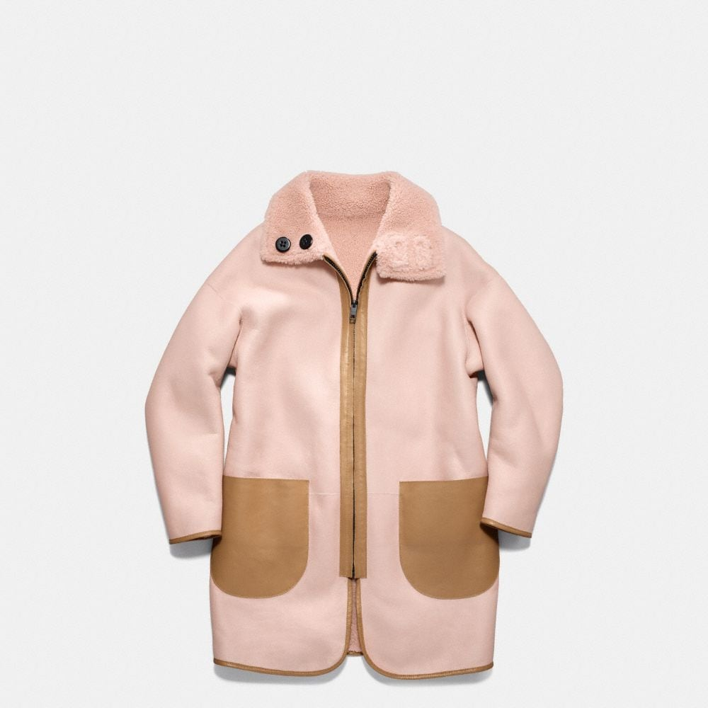Reversible Shearling Cardigan Coat