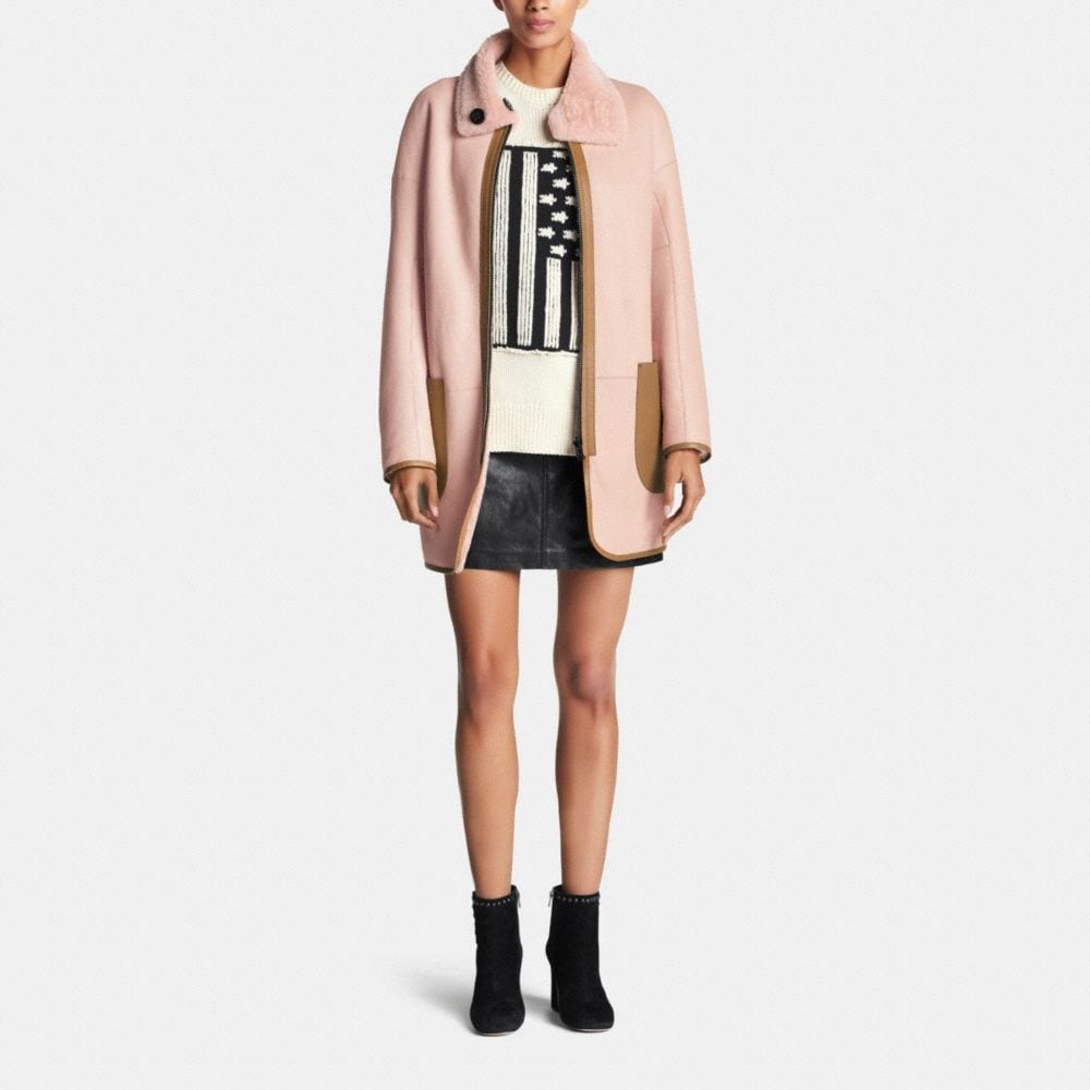 Reversible Shearling Cardigan Coat - Alternate View M