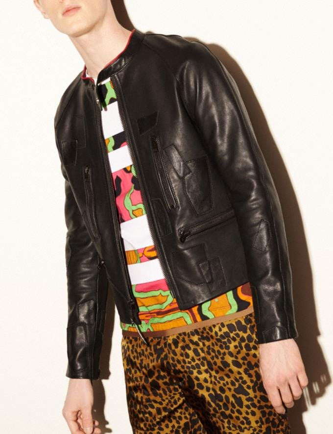 Coach Leather Patched Racer Jacket Black