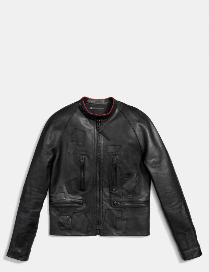 Coach Leather Patched Racer Jacket Black  Alternate View 1