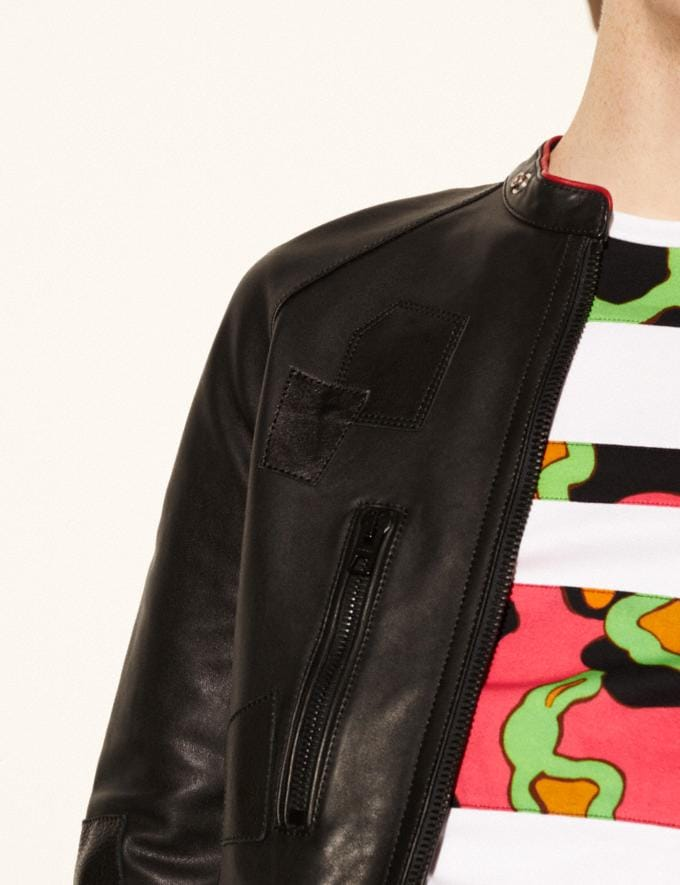 Coach Leather Patched Racer Jacket Black  Alternate View 2
