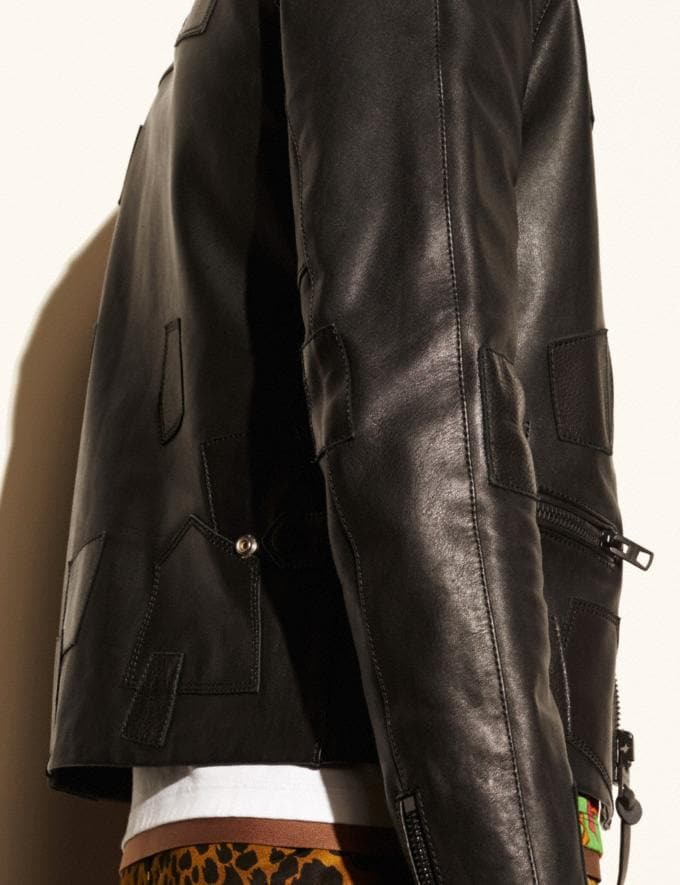 Coach Leather Patched Racer Jacket Black  Alternate View 4