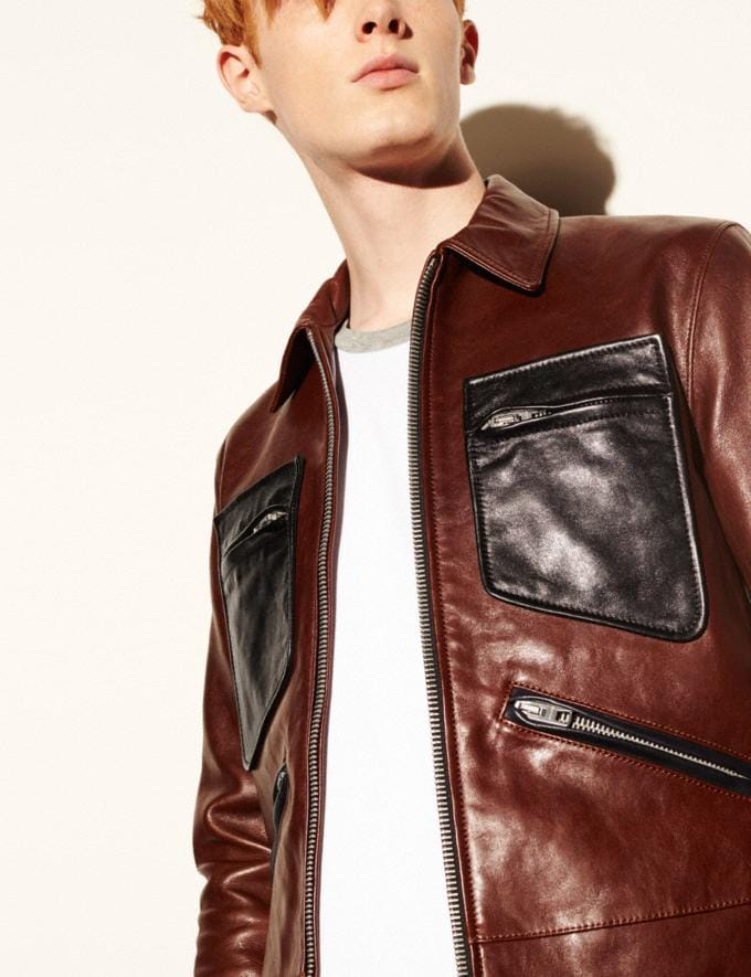 Coach Leather Roadster Jacket Chestnut/Black