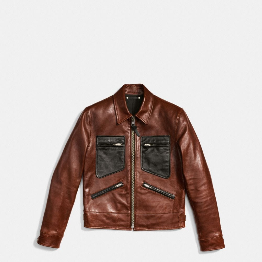Coach Leather Roadster Jacket Alternate View 1