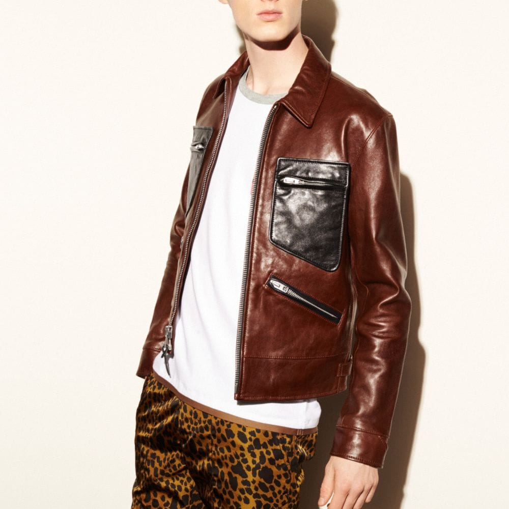 Coach Leather Roadster Jacket Alternate View 2