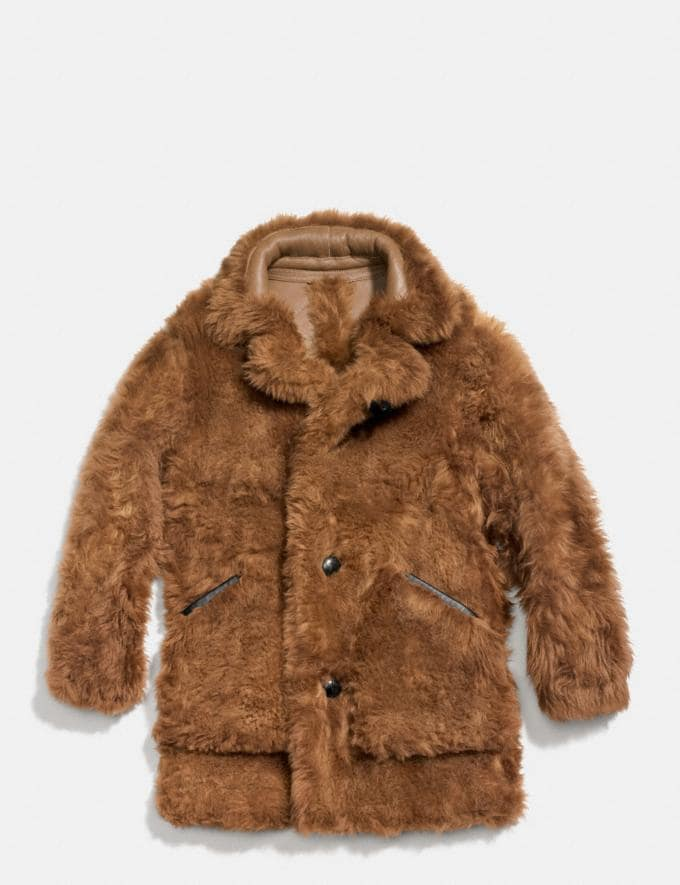 Coach Toy Soldier Shearling Pieced Coat Mahogany Men Ready-to-Wear Outerwear