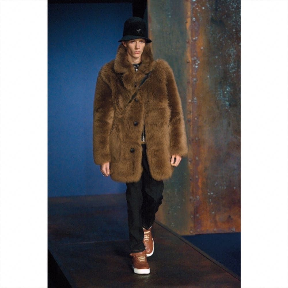 Coach Toy Soldier Shearling Pieced Coat Alternate View 1