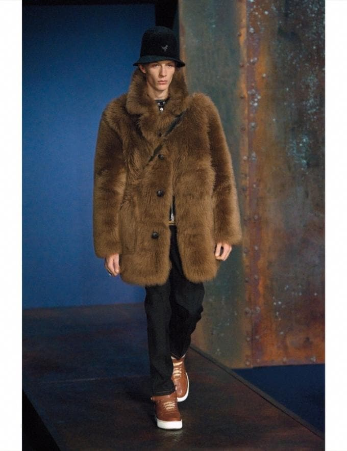 Coach Toy Soldier Shearling Pieced Coat Mahogany Men Ready-to-Wear Outerwear Alternate View 1