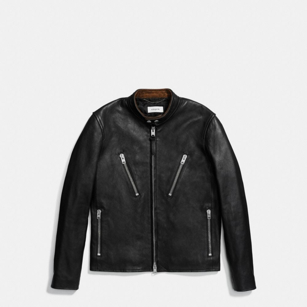 Coach Washed Leather Racer Jacket