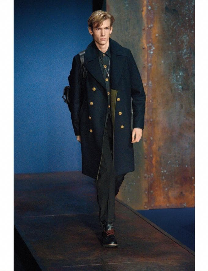 Coach Wool Captains Coat Navy Men Ready-to-Wear Outerwear Alternate View 1