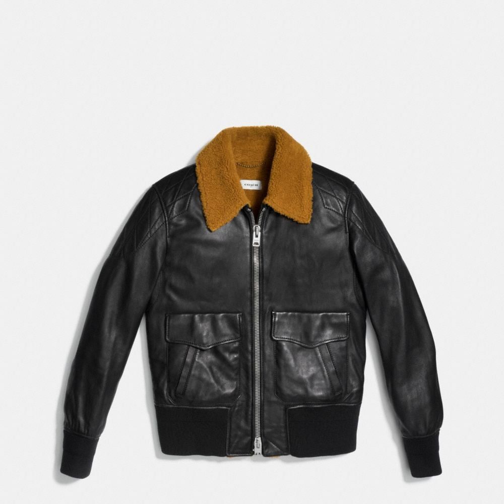 Coach Washed Leather Aviator Bomber Jacket