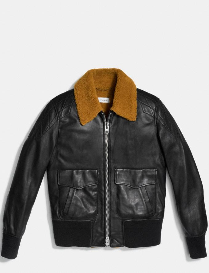 Coach Washed Leather Aviator Bomber Jacket Black Burnt Sienna Men Ready-to-Wear Outerwear