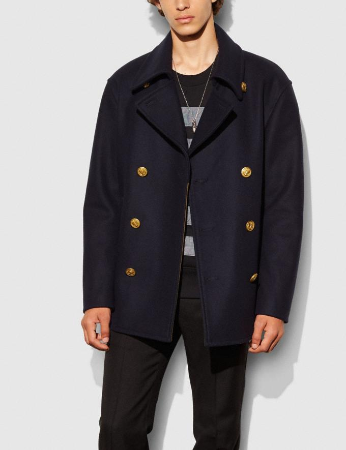 Coach Wool Mariners Coat Navy Men Ready-to-Wear Outerwear