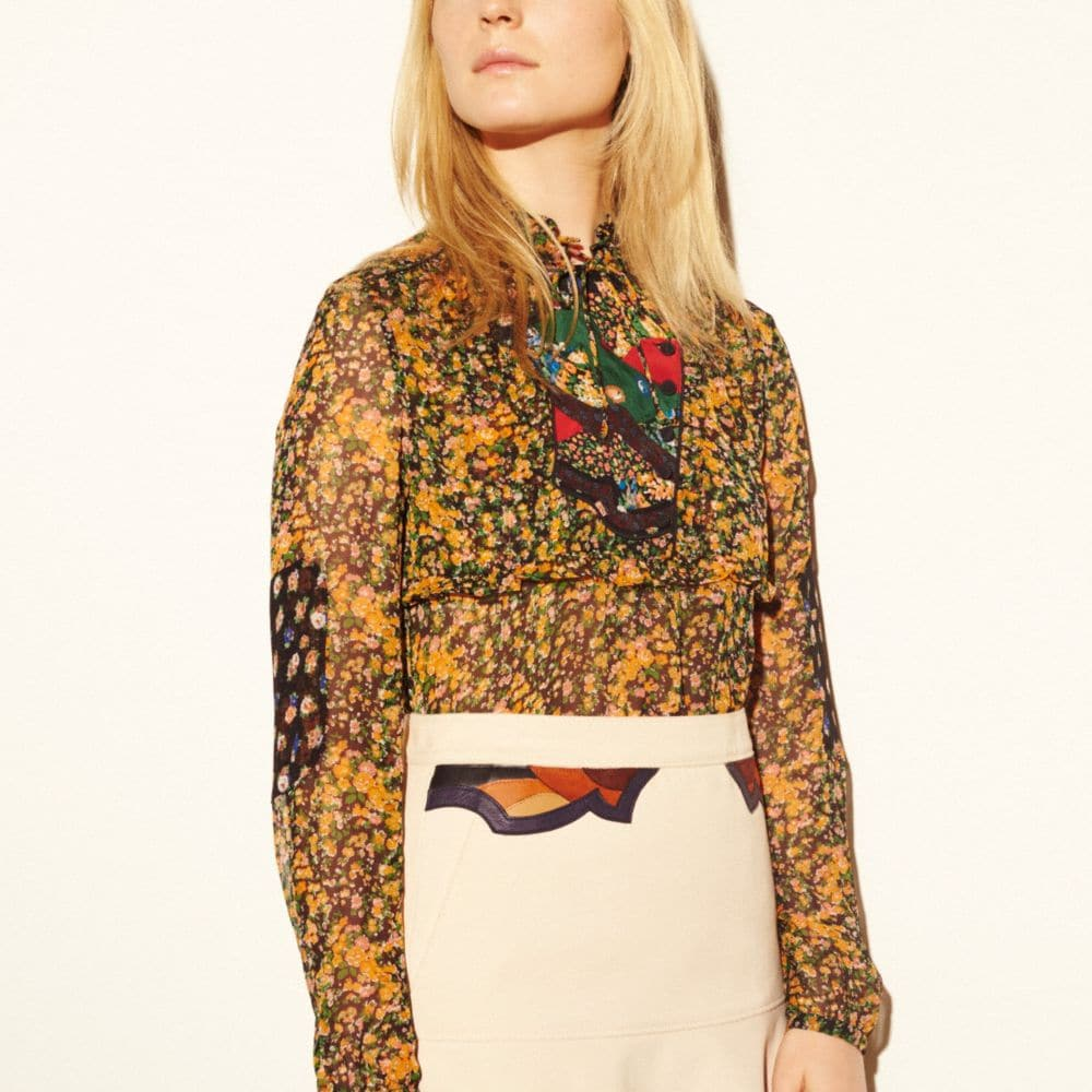 SIDE OPENING BLOUSE WITH APPLIQUE