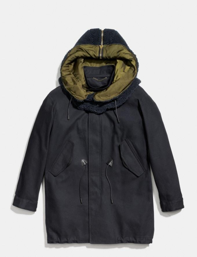 Coach Removable Hood Parka Navy Men Ready-to-Wear Outerwear
