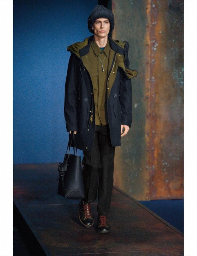 Coach Removable Hood Parka Navy Men Ready-to-Wear Outerwear Alternate View 1