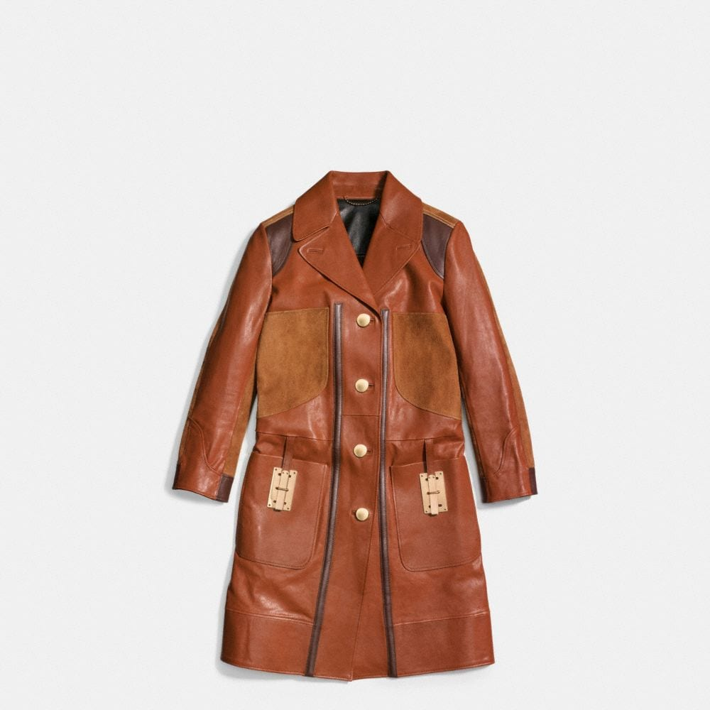 COMBO LEATHER COAT - Alternate View A1