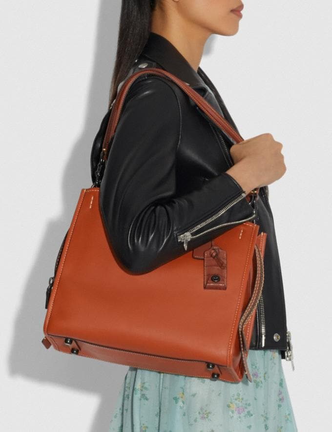 Coach Rogue With Colorblock Crocodile Detail Black Copper/Ginger Women Bags Shoulder Bags Alternate View 3