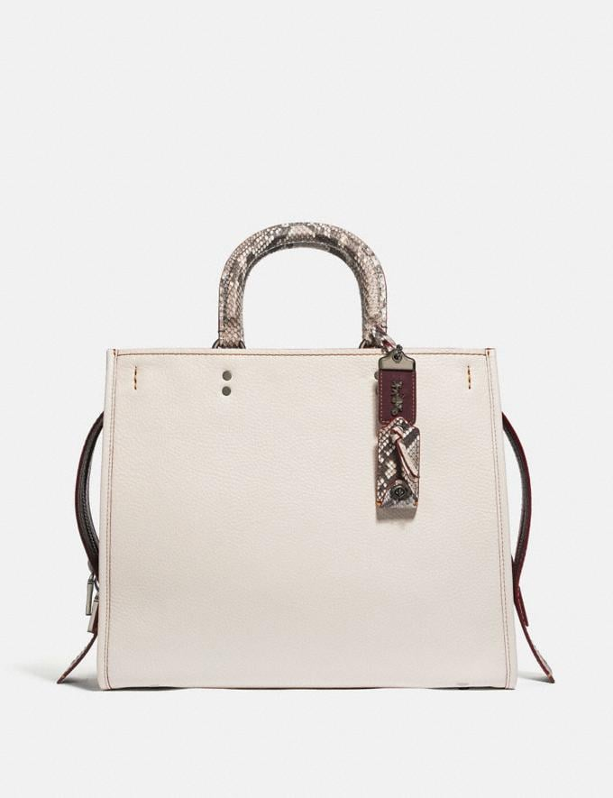 Coach Rogue 36 in Colorblock With Snakeskin Detail Chalk/Pewter Women Bags Shoulder Bags