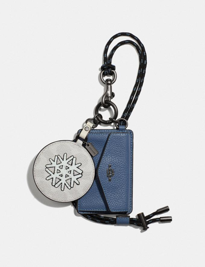 Coach Hybrid Mirror Charm With Coin Case in Signature Canvas With Snowflake V5/Chalk Multi Women Accessories Bag Charms