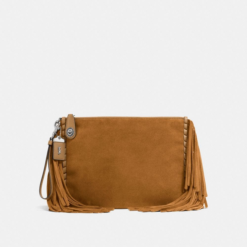 Coach Turnlock Wristlet 30 With Fringe