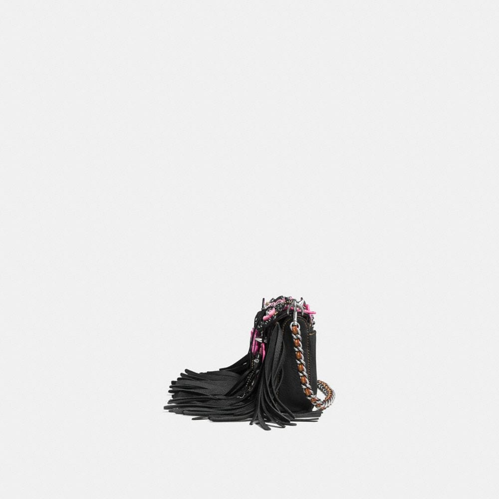 Coach Dinky in Very Natural Pebble Leather With Wild Tea Rose Fringe Alternate View 1